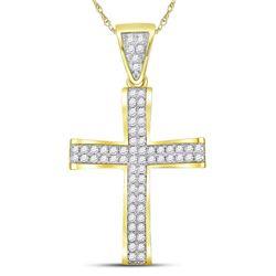 1 CTW Mens Round Diamond Roman Cross Charm Pendant 10kt Yellow Gold - REF-71X9T