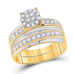 3/4 CTW His & Hers Round Diamond Cluster Matching Bridal Wedding Ring 14kt Two-tone Gold - REF-75W5F