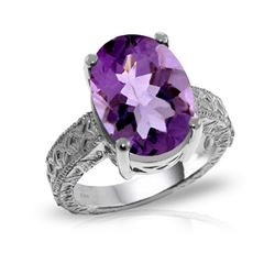 Genuine 7.5 ctw Amethyst Ring 14KT White Gold - REF-125K9V
