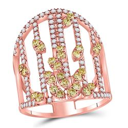 1 & 1/2 CTW Round Yellow Diamond Fashion Cocktail Ring 14kt Rose Gold - REF-126F3M