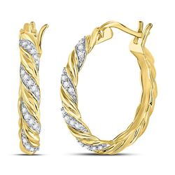 1/10 CTW Round Diamond Spiral Stripe Hoop Earrings 10kt Yellow Gold - REF-15N5Y