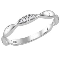 0.02 CTW Round Diamond Contour Stackable Ring 10kt White Gold - REF-7M8A