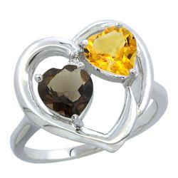 2.61 CTW Diamond, Quartz & Citrine Ring 14K White Gold - REF-33N9Y