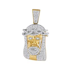 3/4 CTW Mens Round Diamond Jesus Face Charm Pendant 10kt Yellow Gold - REF-39M3A