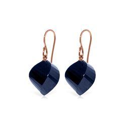 Genuine 30.5 ctw Sapphire Earrings 14KT Rose Gold - REF-39V3W