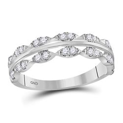 3/8 CTW Round Diamond Contoured Symmetrical Ring 14kt White Gold - REF-30R3H