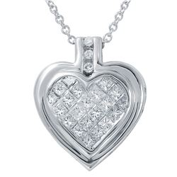 0.50 CTW Diamond Necklace 14K White Gold - REF-49X9R