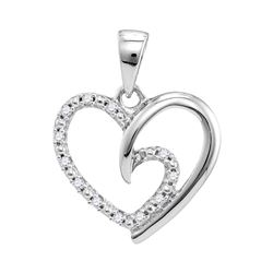 1/10 CTW Round Diamond Small Heart Pendant 10kt White Gold - REF-9K3R