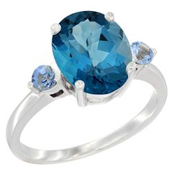 2.64 CTW London Blue Topaz & Blue Sapphire Ring 14K White Gold - REF-32M8A