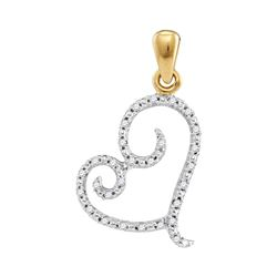 1/10 CTW Round Diamond Curled Heart Pendant 10kt Yellow Gold - REF-8A4N