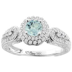 0.92 CTW Aquamarine & Diamond Ring 14K White Gold - REF-89H9M