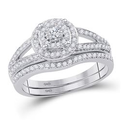 1/2 CTW Round Diamond Halo Bridal Wedding Engagement Ring 10kt White Gold - REF-39R6H