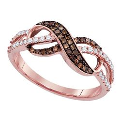 1/3 CTW Round Brown Diamond Infinity Ring 14kt Rose Gold - REF-30X3T