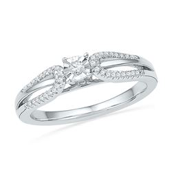 1/6 CTW Round Diamond Solitaire Open-shank Bridal Wedding Engagement Ring 10kt White Gold - REF-20F3