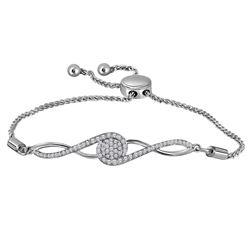 1/2 CTW Round Diamond Bolo Bracelet 10kt White Gold - REF-54K3R