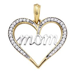 1/8 CTW Round Diamond Heart Mom Mother Pendant 10kt Yellow Gold - REF-11F9M
