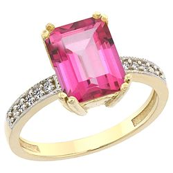 3.70 CTW Pink Topaz & Diamond Ring 10K Yellow Gold - REF-32W2F