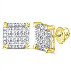 1/4 CTW Mens Round Diamond Square Cluster Stud Earrings 10kt Yellow Gold - REF-19A2N