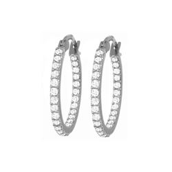 Genuine 0.75 ctw Diamond Anniversary Earrings 14KT White Gold - REF-137X2M