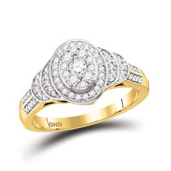1/2 CTW Round Diamond Solitaire Oval Cluster Ring 10kt Yellow Gold - REF-47Y9X
