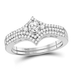 1/2 CTW Round Diamond Chevron Bridal Wedding Engagement Ring 14kt White Gold - REF-57N5Y