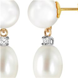 Genuine 10.10 ctw Pearl & Diamond Earrings 14KT Yellow Gold - REF-24Z4N