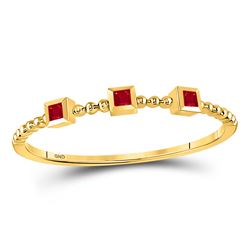1/20 CTW Princess Ruby 3-Stone Beaded Stackable Ring 10kt Yellow Gold - REF-5W9F