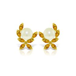 Genuine 3.25 ctw Pearl & Citrine Earrings 14KT Yellow Gold - REF-30P2H