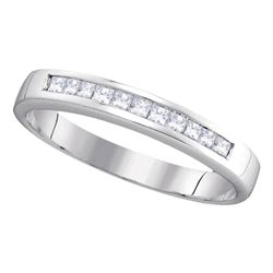 1/4 CTW Princess Diamond Wedding Channel Set Ring 14kt White Gold - REF-28H8W