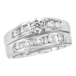 1 CTW Round Diamond Bridal Wedding Engagement Ring 14kt White Gold - REF-143X9T