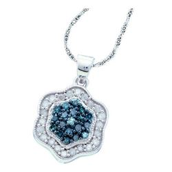 1/2 CTW Round Blue Color Enhanced Diamond Cluster Pendant 10kt White Gold - REF-20A3N