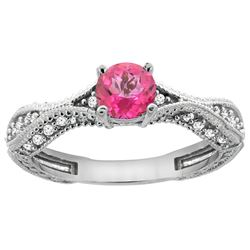 0.81 CTW Pink Topaz & Diamond Ring 14K White Gold - REF-67Y8V