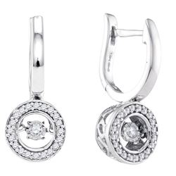1/3 CTW Round Diamond Moving Twinkle Dangle Earrings 10kt White Gold - REF-41A9N