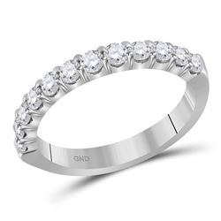 1/2 CTW Machine Set Round Diamond Single Row Wedding Ring 14kt White Gold - REF-47W9F