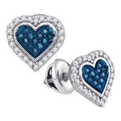 1/4 CTW Round Blue Color Enhanced Diamond Heart Stud Screwback Earrings 10kt White Gold - REF-15X5T