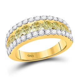 2 CTW Round Yellow Diamond Triple Row Ring 14kt Yellow Gold - REF-156R3H