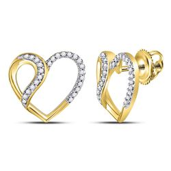 1/6 CTW Round Diamond Heart Earrings 10kt Yellow Gold - REF-15R5H