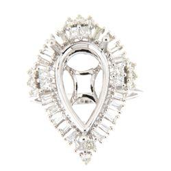 0.88 CTW Diamond Semi Mount Ring 14K White Gold - REF-103X5R