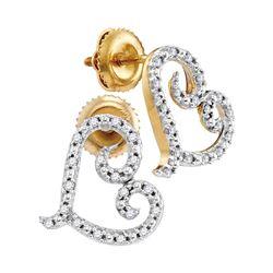 1/6 CTW Round Diamond Heart Earrings 10kt Yellow Gold - REF-9R6H