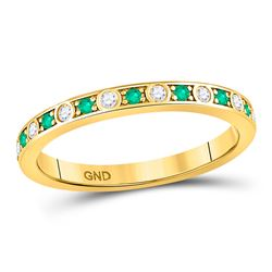 1/4 CTW Round Emerald Diamond Alternating Stackable Ring 10kt Yellow Gold - REF-15T5K