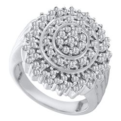 1 CTW Round Diamond Concentric Circle Cluster Ring 10kt White Gold - REF-45A6N