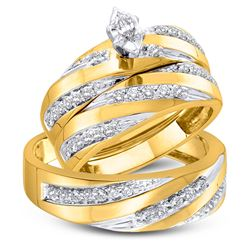 3/4 CTW His & Hers Marquise Diamond Solitaire Matching Bridal Wedding Ring 10kt Yellow Gold - REF-60