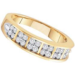 1/2 CTW Round Diamond Double Row Ring 14kt Yellow Gold - REF-45F6M