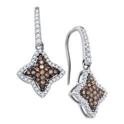 5/8 CTW Round Brown Diamond Star Dangle Earrings 10kt White Gold - REF-30F3M