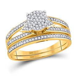 1/3 CTW Round Diamond Cluster Bridal Wedding Engagement Ring 10kt Yellow Gold - REF-27R5H