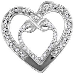 1/10 CTW Round Diamond Nested Double Heart Pendant 10kt White Gold - REF-9K6R