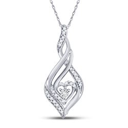 1/8 CTW Round Diamond Heart Spade Frame Pendant 10kt White Gold - REF-13Y2X