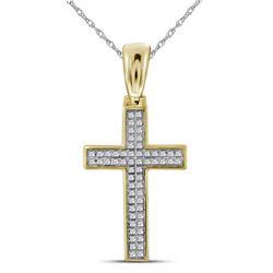 1/6 CTW Mens Round Diamond Small Cross Charm Pendant 10kt Yellow Gold - REF-22K8R