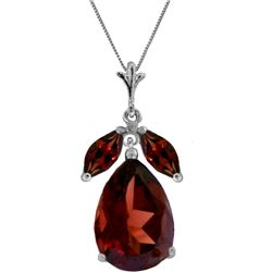 Genuine 6.5 ctw Garnet Necklace 14KT White Gold - REF-42X6M