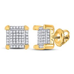 1/6 CTW Mens Round Diamond Square Cluster Stud Earrings 10kt Yellow Gold - REF-15K5R